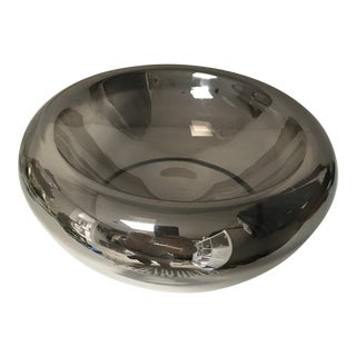 1960s Modernist Silver Ombre Glass Hand Blown Floating Bowl