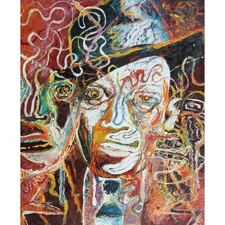 Mid Century Abstract Frank Sinatra Portrait Painting For Sale