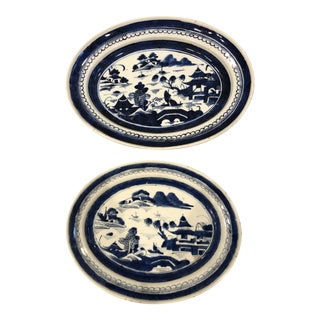 Canton Blue & White Serving Platters - a Pair For Sale