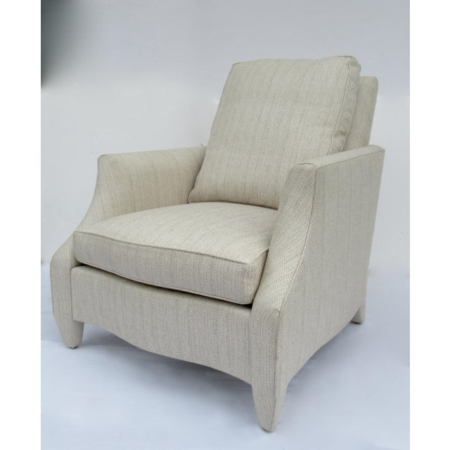 Tan Donghia Ogee Club Chair and Ottoman For Sale - Image 8 of 13