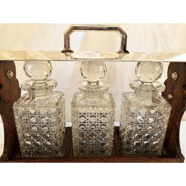 Late 19th Century Antique English Three Bottle Golden Oak Tantalus, Circa 1880. For Sale - Image 5 of 6
