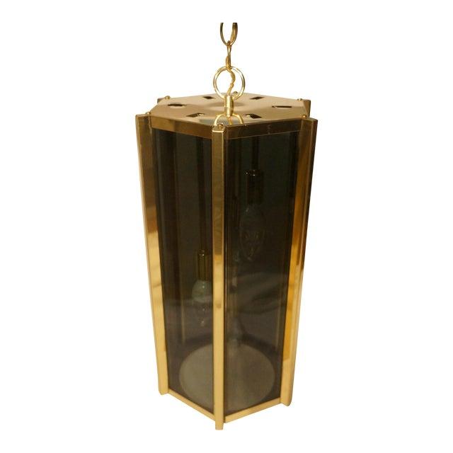 Fredrick Ramond Smoked Glass & Brass Pendant Lamp For Sale