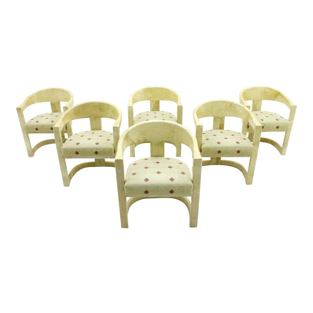 Set of Six Karl Springer Onassis Chairs, Goatskin, 1980s For Sale