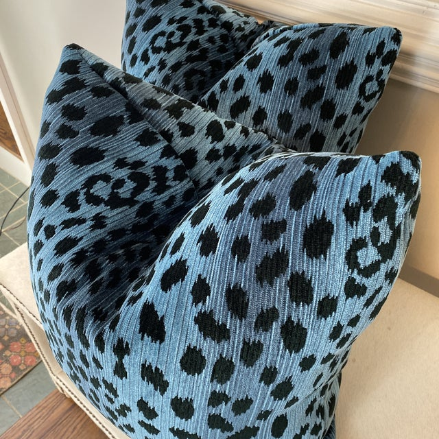 """Custom pair of 22"""" pillows covered in a super soft chenille velvet fabric in a leopard print pattern. The blues in this..."""