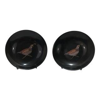 Mid-Century Couroc Quail Shallow Bowls - A Pair
