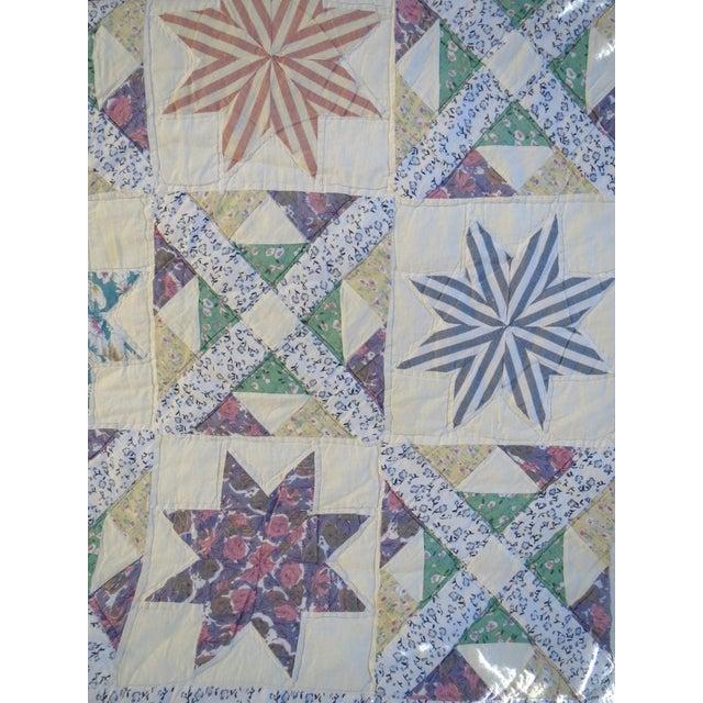 Vintage Feedsack Star Quilt - Image 5 of 8