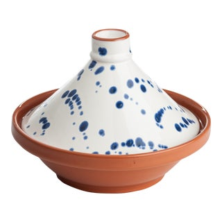 Blue & White Speckled Tagine For Sale