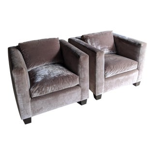 Silver Lavender Velvet Cube Club Chairs - a Pair For Sale