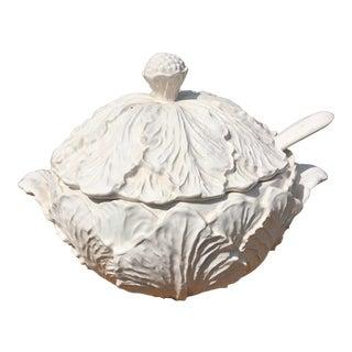 Vintage Blanc De Chin Cabbage Leaf Serving Terrine For Sale