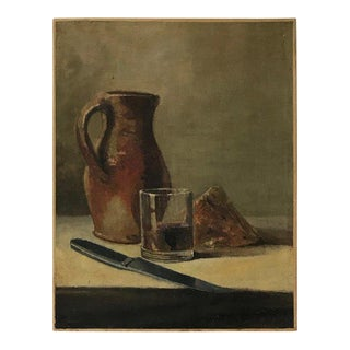 20th C. Wine and Cheese Still Life Painting For Sale