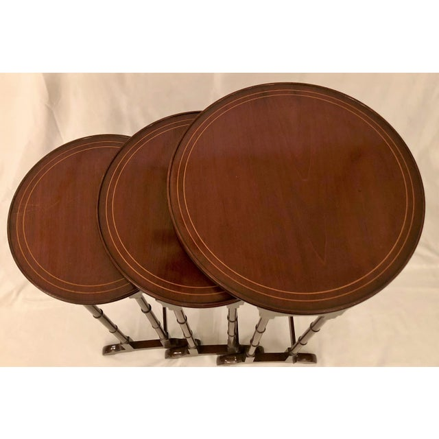 English Traditional Antique English Mahogany Nest of Tables With Delicate Inlay. For Sale - Image 3 of 8