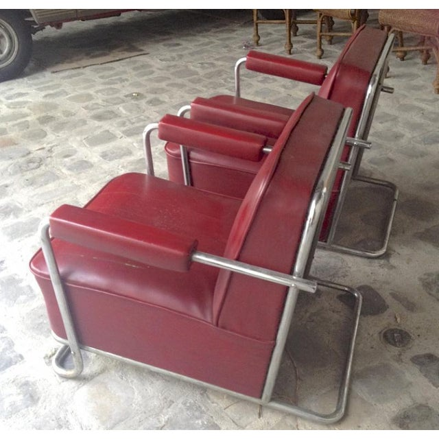 Thonet Frères by René Coquery documented modernist pair of club chairs in vintage genuine condition.