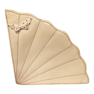 1970 Vintage Cream Colored Patent Leather Fan Shaped Clutch Bag For Sale