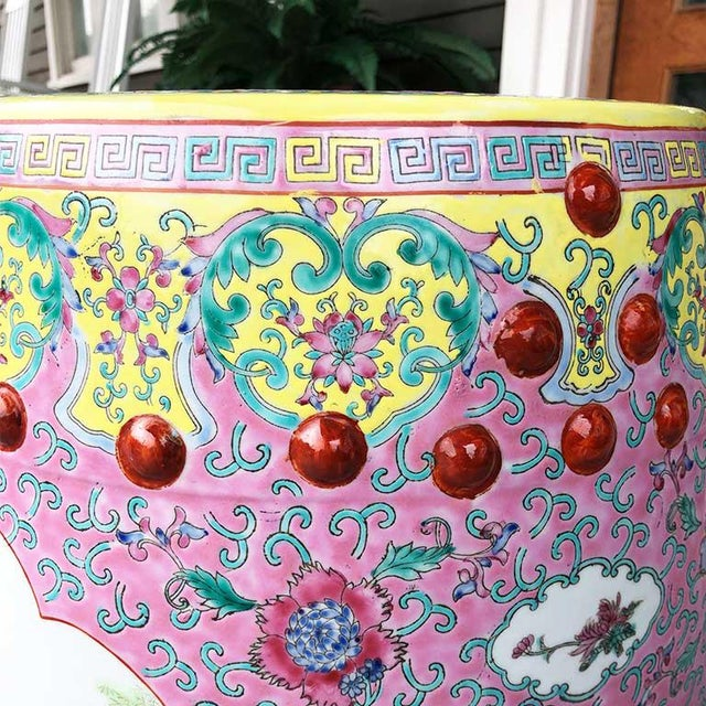 1960s Chinoiserie Chinese Famille Rose Pink Yellow Ceramic Garden Seat Stool For Sale - Image 4 of 10