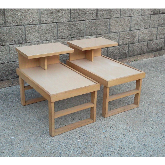 1950s Paul Laszlo Style Blonde End Tables-A Pair For Sale - Image 5 of 12