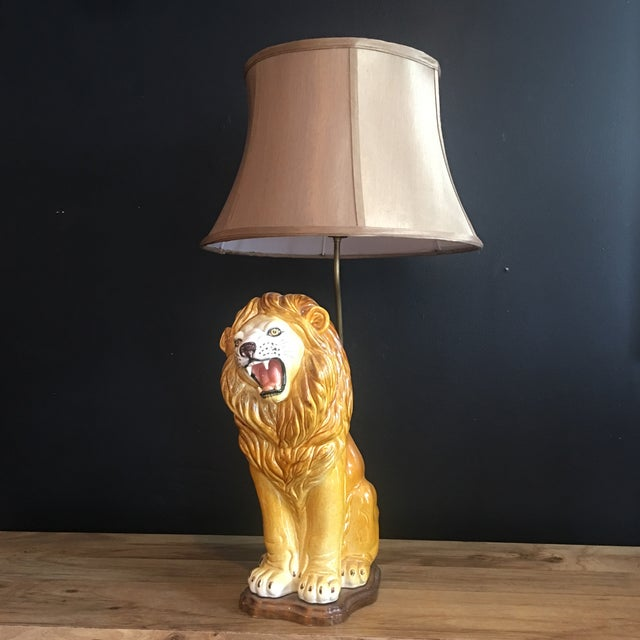 Large Italian Hand-Painted Porcelain Lion Sculpture Mounted Lamp For Sale - Image 12 of 12