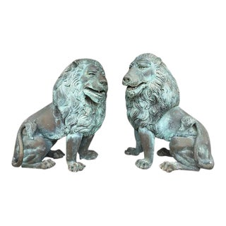Oversized Bronze Garden Lion Figures- A Pair For Sale