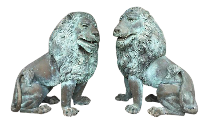 Oversized Bronze Garden Lion Figures  A Pair