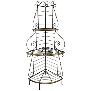 Mid-Century Modern Brass and Iron 3-Tier Corner Bakers Rack For Sale