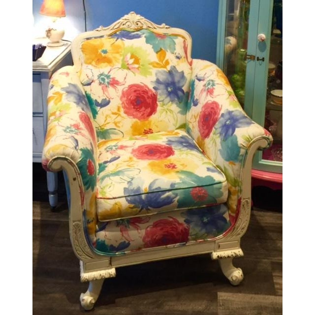 Floral and Plaid Club Chair - Image 2 of 4