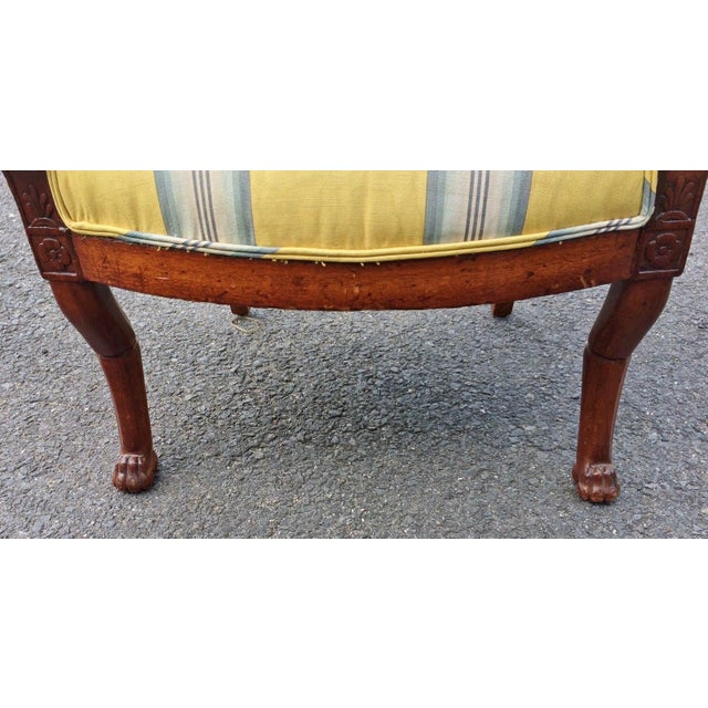 Brown 19th Century Napoleonic Mahogany Carved Arm Chair For Sale - Image 8 of 12
