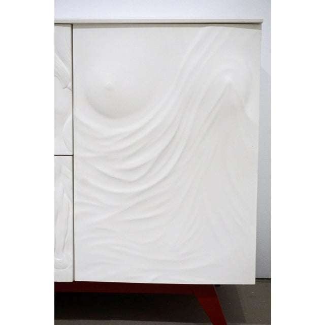 Contemporary Italian White Sideboard or Cabinet With Burgundy Wood Legs For Sale - Image 4 of 11