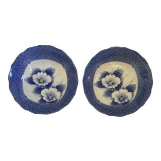 Japanese Style Scalloped Blue Floral Bowls - Set of 2 For Sale