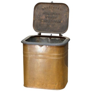 1880s Rochester Stamping Works Copper Coal Can Industrial Waste Trash Bin For Sale