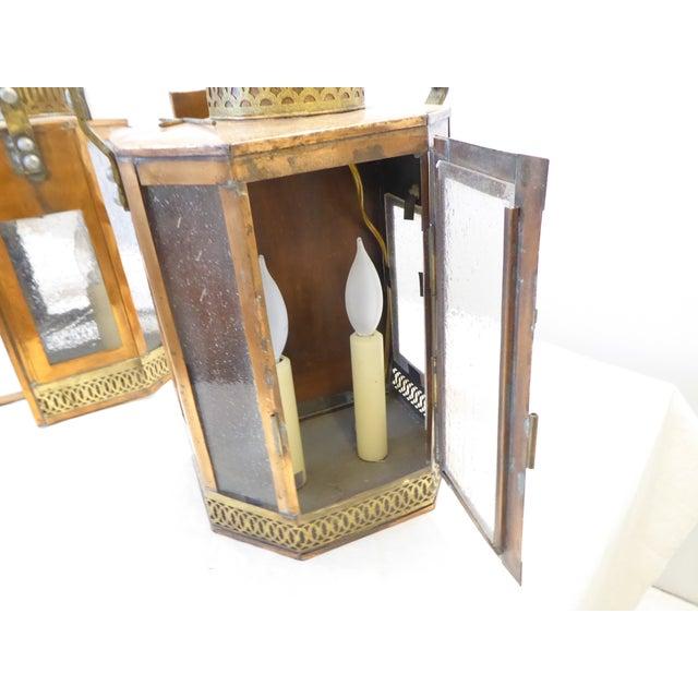 Vintage Copper Lantern Sconces - a Pair For Sale - Image 4 of 8