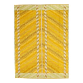 "Modern Swedish Flatweave Yellow Rug - 6'4 X 8'8"" For Sale"