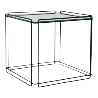 Mid-Century Wrought Iron and Glass Side Table For Sale