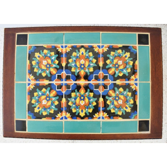 1940s California Mission Tile Oak Accent Coffee Table For Sale - Image 10 of 13