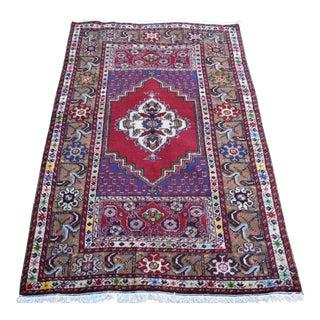 Vintage Turkish Hand Knotted Floral Oushak Rug For Sale
