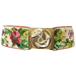 Rare Victorian Berlin Wool Work Floral Belt. Hand Stitched. 1870's. For Sale