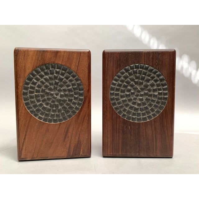 Mid-Century Modern Walnut and Tile Bookends - a Pair For Sale - Image 10 of 10