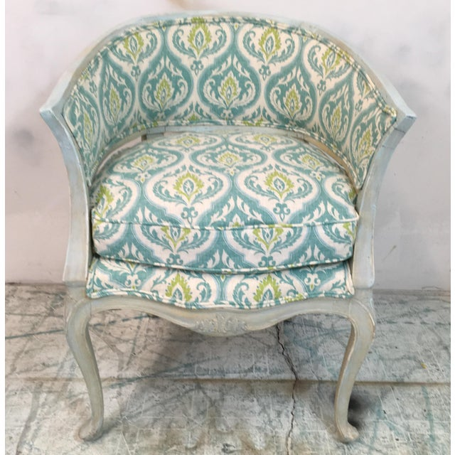 1960s Italian painted armchair in new cotton-linen blend upholstery. Tbe frame is a sort of Swedish blue and has some age...