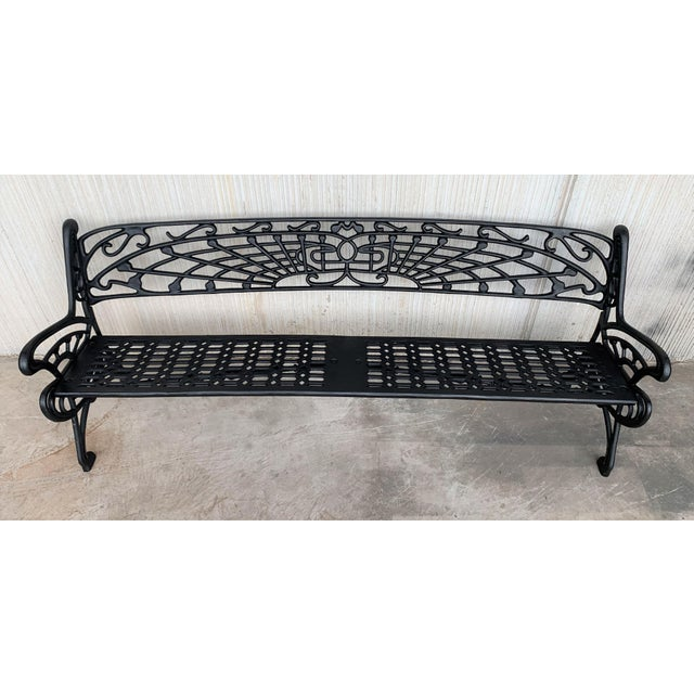 New Large Black Cast Aluminum Garden or Park Bench For Sale - Image 11 of 13