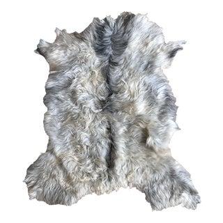 Modern Angora Goatskin Throw - 2′8″ × 3′7″ For Sale
