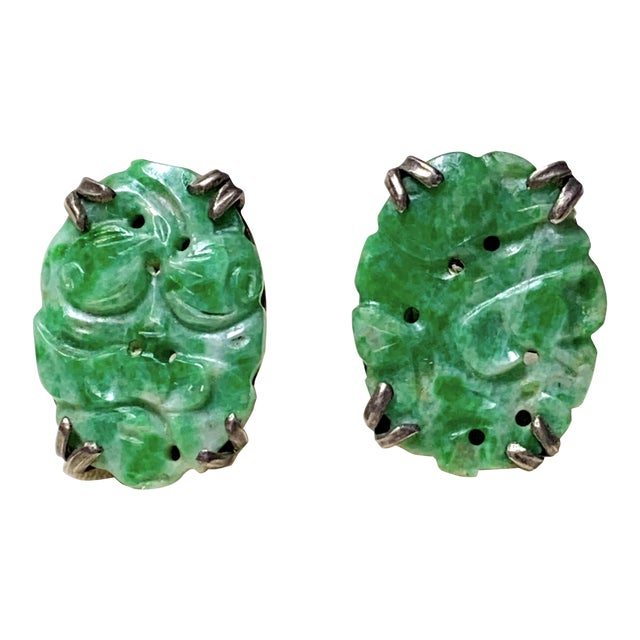 1930s Carved Jade and Sterling Screw Back Earrings For Sale