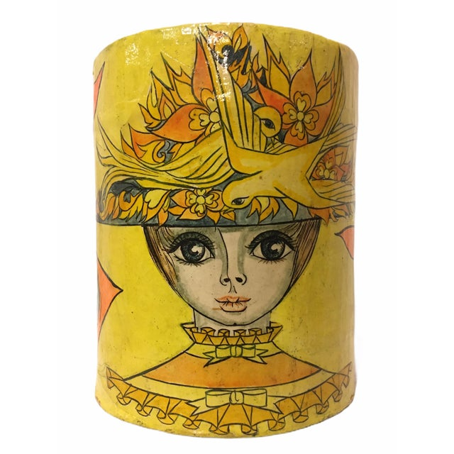 Vintage Mid-Century Paper Mache Can / Vessel For Sale - Image 9 of 9