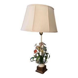 Vintage Floral Tole Table Lamp