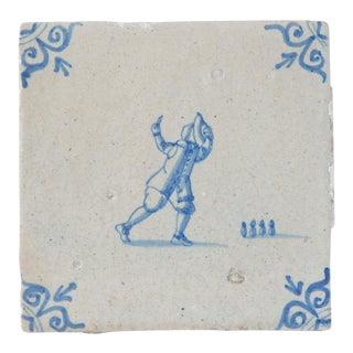 17th C. Vintage Porcelain Tile Delft Blue White Decorative Tile For Sale
