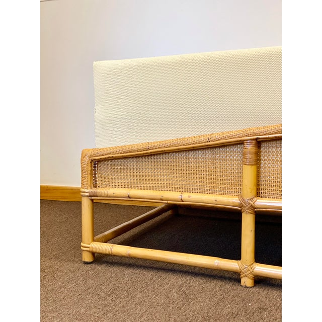 Wood 1960s Bamboo and Rattan Reupholstered Daybed For Sale - Image 7 of 12