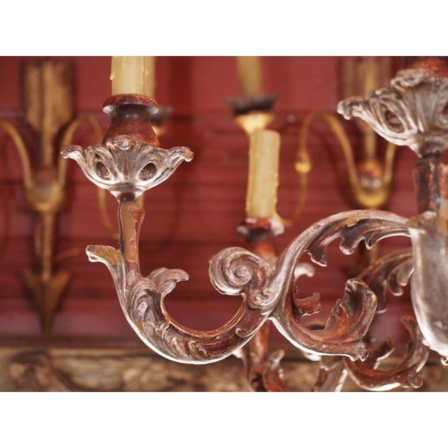1940s Mid 20th Century Italian Wood Chandelier For Sale - Image 5 of 8