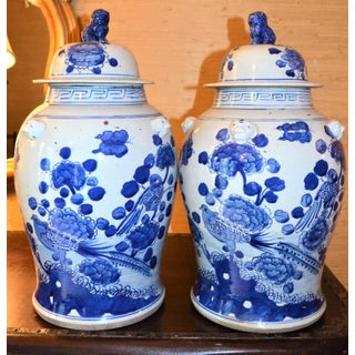 Chinoiserie White & Blue Baluster Temple / Ginger Jars - a Pair Preview