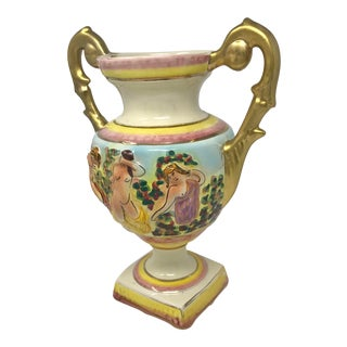 Vintage Mid Century Hollywood Regency Italian Pottery Pink & Gold Nymph Decorative Glazed Urn For Sale