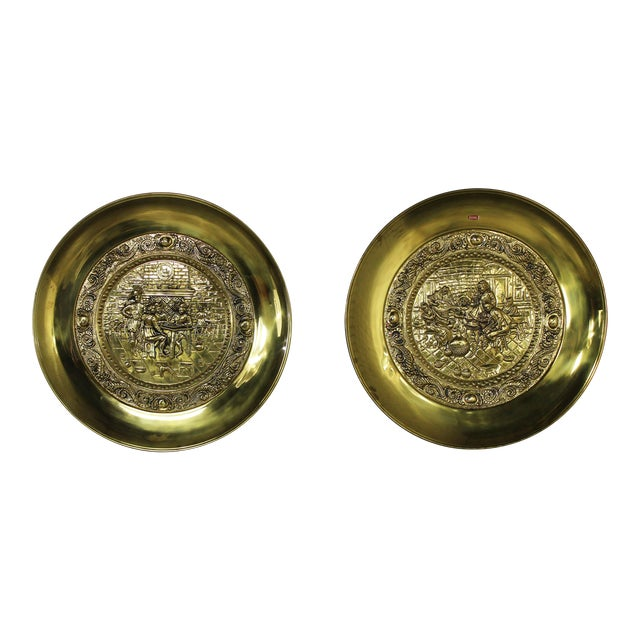 Peerage Brassware Decorative Embossed English Wall Plates - a Pair For Sale