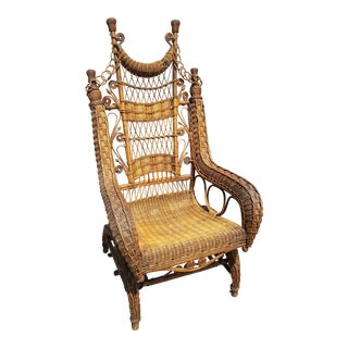 20th Century Primitive Wicker Rocking Chair For Sale