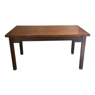 1900's Traditional Solid Maple Library Table/Writing Desk For Sale
