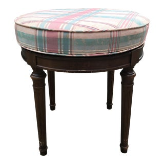 Mid-20th Century Traditional Plaid Silk Upholstered Revolving Wooden Stool